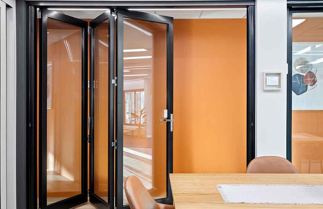 Bi-fold door in Unique Windows & Doors showroom